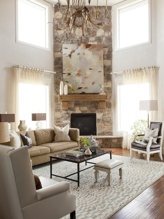 Corner Fireplace Transitional Living Room Alice Lane