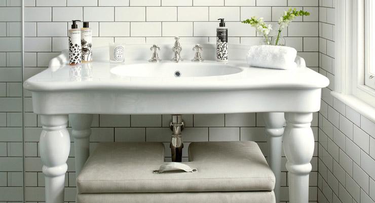 Double Pedestal Sink : Parisian Pedestal Sink - Transitional - bathroom - Leivars