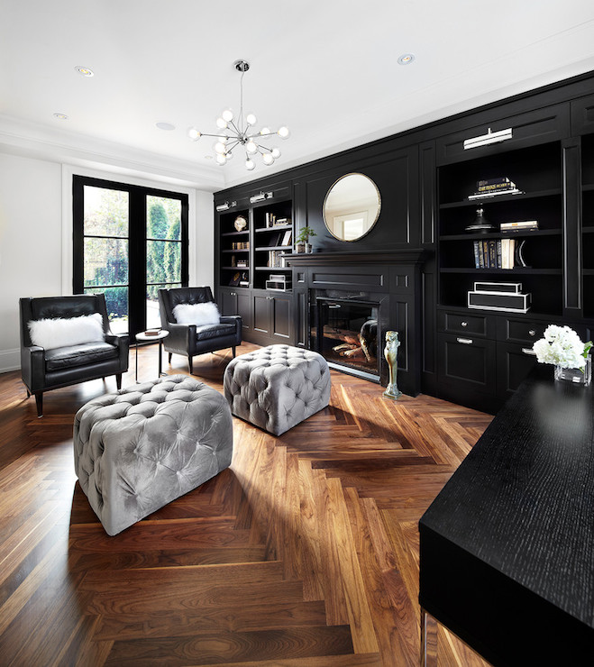 Black Built Ins Contemporary Den Library Office The