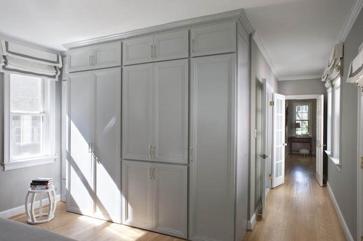 Gray Wardrobe Cabinets Transitional Bedroom Roxanne