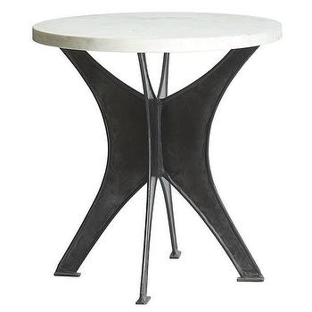 Tables - Industrial Arc Table | Wisteria - industrial side table, iron based marble topped side table, iron and marble side table, industrial side table with marble top,