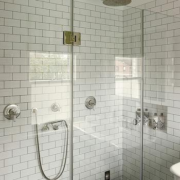 Leivars - bathrooms - walk-in shower, walk-in shower enclosure, seamless glass shower surround, frameless glass shower surround, subway tile, white subway tile, subway tiled shower, subway tile shower interior, dual shower heads, his and hers shower head, gray grout, subway tile with gray grout, rainfall shower head, ceiling mount shower head, adjustable shower head, double shower, double shower heads, bathroom subway tiles, subway til surround, subway tile shower surround, his and her shower,