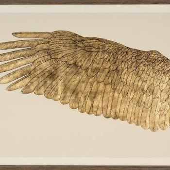 Art/Wall Decor - Wings of Love, Goldleaf left | Natural Curiosities - gold birds wing wall art, gold leafed birds wing art print, screen printed birds wing art,