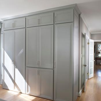 Roxanne Lumme Interiors - bedrooms - gray wardrobe, gray wardrobe cabinets, white and grey roman shade, grosgrain roman shade,  White and grey