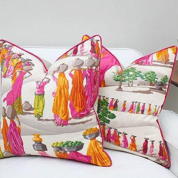 Pillows - 20 Sq Manuel Canovas Sari Linen Pillow Cover by PinkandPiper I Etsy - pink and orange indian style pillow, pink and orange sari print pillow, hot pink and orange sari print pillow,