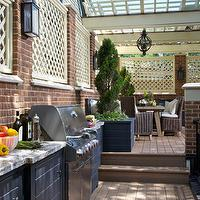 Burns and Beyerl Architects - decks/patios - outdoor kitchen, blue cabinets, granite counters, granite countertops, deck kitchen,  Lovely deck