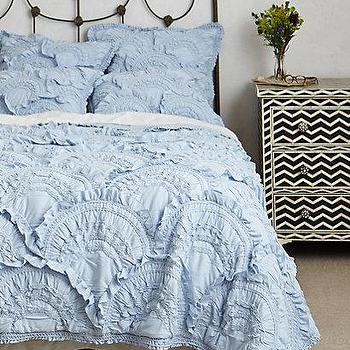 Bedding - Rivulets Quilt I anthropologie.com - ruffled blue quilt, ruffled blue duvet, ruffled blue bedding,