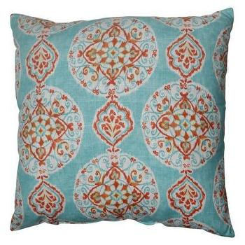 Pillows - Mirage Medallion Toss Pillow - Aqua I Target - aqua orange and white pillow, blue orange and white pillow, aqua blue and orange pillow, blue and orange medallion print pillow, blue and orange medallion patterned pillow,