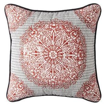 Pillows - Threshold Decorative Square Pillow Orange I Target - orange black and white pillow, patterned orange black and white pillow, orange black and white medallion print pillow,