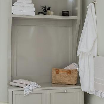 Gray Storage Bench, Contemporary, bathroom, Venegas and Company