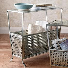 Tables - Barclay Console Table | The Company Store - steel console table, steel console table with basket shelf, industrial steel console table,