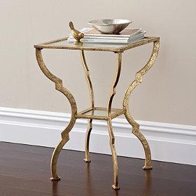 Tables - Sutton Accent Table | The Company Store - antiqued gold accent table, gold accent table with glass top, glass topped antiqued gold accent table,
