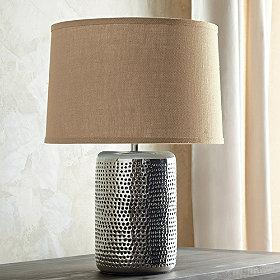 Lighting - Kashmir Pierced Cylinder Table Lamp | The Company Store - hammered metal table lamp, punched metal table lamp, nickel-plated table lamp,