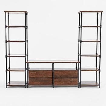 Storage Furniture - Pipe Media Set - Long | west elm - industrial media console, iron and wood media console, industrial style media center,