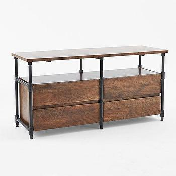 Storage Furniture - Pipe Media Console - Long | west elm - industrial media console, industrial media cabinet, wood and iron media console,