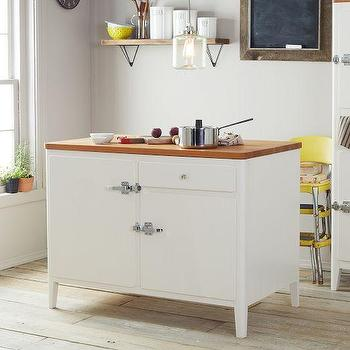 Storage Furniture - Cabin Kitchen Island - White | west elm - vintage style kitchen island, white kitchen island with vintage latches, white retro style kitchen island,