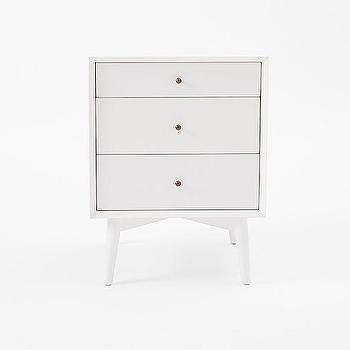 Storage Furniture - Mid-Century Media Bases - White | west elm - white nightstand, white mid-century nightstand, mid-century style nightstand,