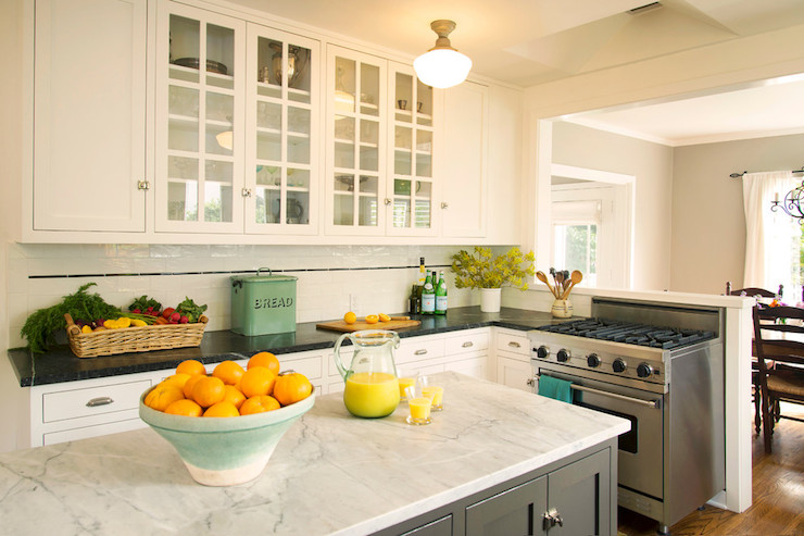 Carrera marble countertops transitional kitchen for Kitchen staging ideas