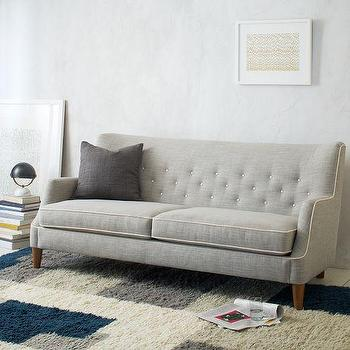 Seating - Livingston Sofa | west elm - gray sofa, button tufted gray sofa, retro style gray sofa,