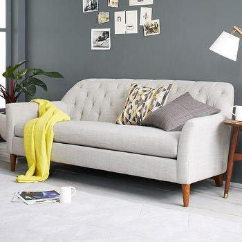 Seating - Ainslie Sofa | west elm - gray tufted sofa, gray button tufted sofa, contemporary gray button tufted sofa,