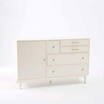 Storage Furniture - Patchwork Media Console - White | west elm - white media console, modern white media console, white media cabinet, white media console with brass hardware,