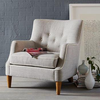Seating - Livingston Chair | west elm - tufted gray chair, retro style gray chair, button tufted gray accent chair,