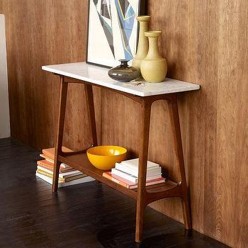 Tables - Reeve Mid-Century Console | west elm - mid-century console table, marble topped console table, mid-century console table with marble top,
