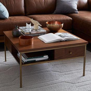 Tables - Nook Coffee Table | west elm - brass and walnut coffee table, contemporary brass and walnut coffee table, brass framed coffee table with drawers,