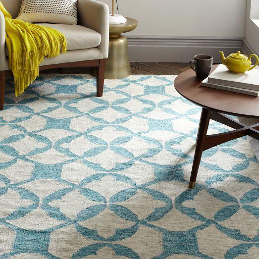 Tile Wool Kilim - Aquamarine