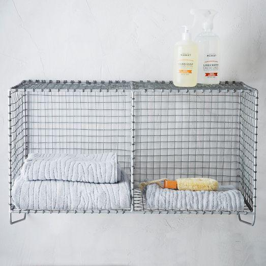 Wire mesh storage hanging double shelf west elm - West elm bathroom storage ...