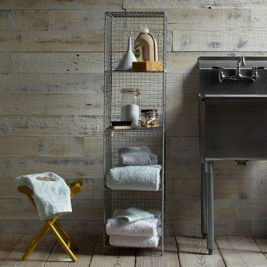 Wire mesh storage standing shelving rack west elm - West elm bathroom storage ...