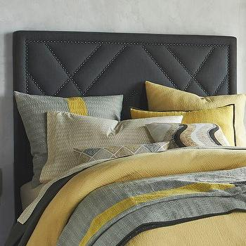 Beds/Headboards - Patterned Nailhead Upholstered Headboard | west elm - gray headboard, gray headboard with nailhead trim, gray headboard with geometric nailhead trim,