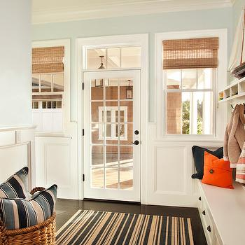 Mudroom Beadboard, Cottage, laundry room, Benjamin Moore Woodlawn Blue, Garrison Hullinger Interior Design
