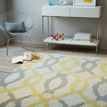 Rugs - Ikat Links Wool Rug - Horseradish | west elm - gray and yellow ikat rug, gray and yellow lattice rug, gray and yellow geometric rug,