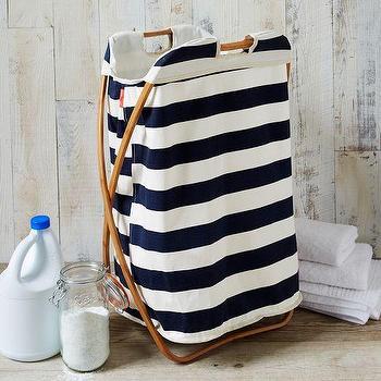 Miscellaneous - Bamboo Laundry Single Hamper Hamam Stripe | west elm - striped laundry hamper, navy and white stripe laundry hamper, fold able navy and white striped laundry basket,
