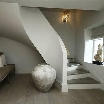 248 Hills Point - entrances/foyers - winding staircase, curved staircase, french windows, buddha, wingback settee, velvet settee, velvet wingback settee, velvet wingback settee, taupe settee, taupe velvet settee, taupe wingback settee,