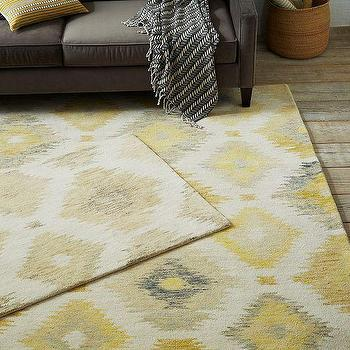 Rugs - Blur Ikat Rug - Citron | west elm - gray and yellow rug, gray and yellow ikat rug, gray yellow and beige ikat rug,
