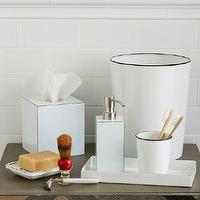 Bath - Enamel Bath Accessories | west elm - white enamel bath accessories, white enamel tissue box cover, white enamel waste basket, white enamel tray, white enamel toothbrush holder, white enamel soap dispenser,