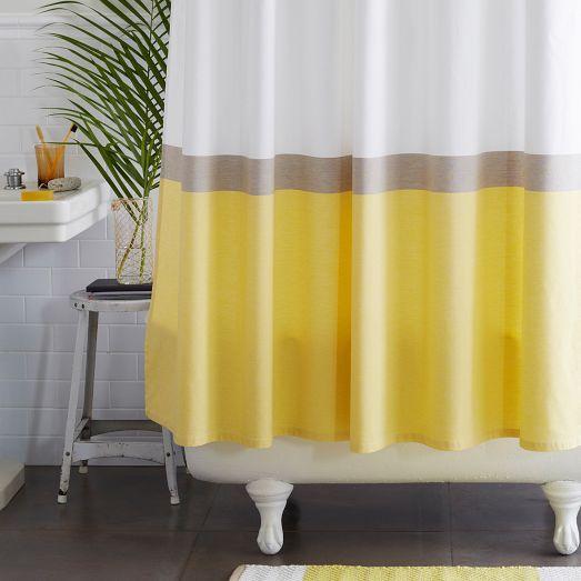 Horizon Stripe Shower Curtain Citron West Elm