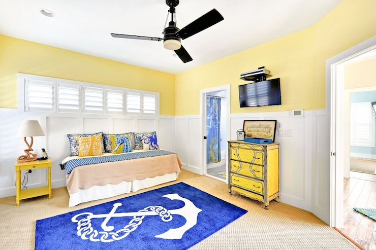 Yellow and blue kids room cottage boy 39 s room echelon for Childrens nautical bedroom ideas
