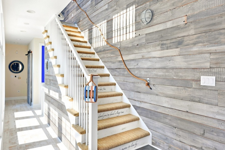 Echelon Custom Homes - entrances/foyers - nautical foyer, rope railing, rope stair rail, rope stair railing, planked wall, wood planked wall, wood plank wall,