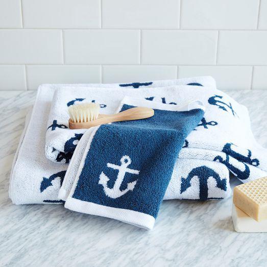 Anchor Jacquard Towel West Elm