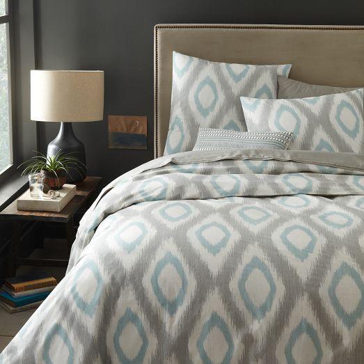 organic ikat diamond duvet cover shams light pool. Black Bedroom Furniture Sets. Home Design Ideas