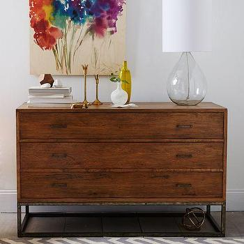 Storage Furniture - Copenhagen 3-Drawer Dresser - Wide | west elm - wooden dresser with iron base, iron based dresser, contemporary dresser with iron base, 3-drawer dresser with iron framed base,