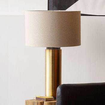 Lighting - Pillar Table Lamp - Antique Brass | west elm - brass column table lamp, antique brass table lamp, brass pillar table lamp, contemporary brass table lamp, mid-century style brass table lamp,