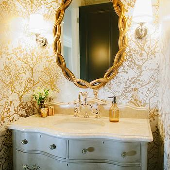 Wilderness Wallpaper, Transitional, bathroom, Bijou and Boheme