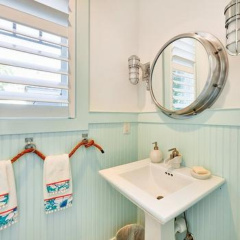 Echelon Custom Homes - bathrooms - white and turquoise powder room, powder room, nautical powder room, beadboard, powder room beadboard, beadboard powder room, turquoise beadboard, turquoise blue beadboard, nautical towel holder, rope towel holder, nautical rope towel holder, pedestal sink, porthole mirror, marine sconces, nautical bathroom,