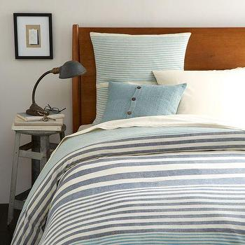Bedding - Steven Alan Stripe Duvet Cover + Shams - Midnight | west elm - blue striped bedding, blue striped duvet, blue striped bed linens blue striped duvet cover,
