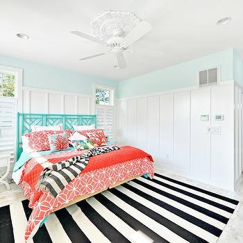 Black and White Striped Rug, Cottage, bedroom, Echelon Custom Homes