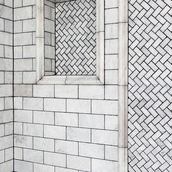 Lonny Magazine - bathrooms - shower, shower surround, shower ideas, walk in shower, white marble subway tiles, shower niche, tiled shower niche, marble herringbone tiles, marble herringbone shower,